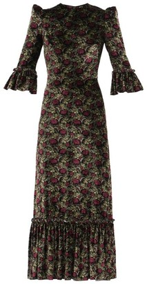 The Vampire's Wife The Festival Poppy-print Velvet Midi Dress - Black Red