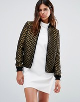 Helene Berman Zip Front Bomber Jacket in Black and Gold Spots