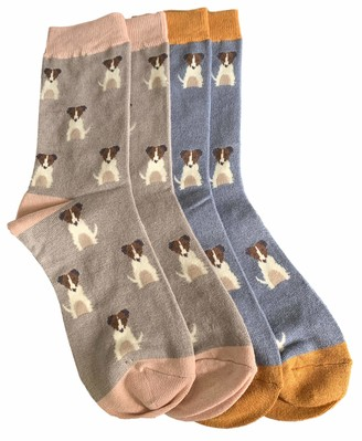 Purple Possum Jack Russell Socks Ladies 2 Pair Pack Dog Print Terrier Soft Bamboo Cotton Blend Jack Russells Sock (Grey/Blue)