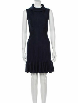 Alaia Turtleneck Mini Dress Blue