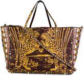 Valentino Garavani Valentino Rockstud Rolling tiger trapeze tote - women - Cotton/Calf Leather - One Size