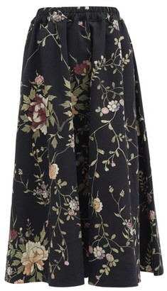 By Walid Daisy Floral-embroidered Cotton-canvas Midi Skirt - Black Multi