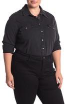 Levi's Fringe Back Western Denim Shirt (Plus Size)