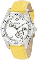 Invicta Women's 12511 Pro-Diver Silver Dial Crystal Accented Hearts Leather Watch