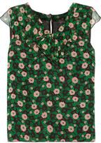 Anna Sui Ruffled Floral-Print Silk-Chiffon Top