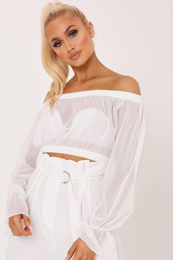 897ad10159f White Bardot Fitted Crop Top - ShopStyle UK
