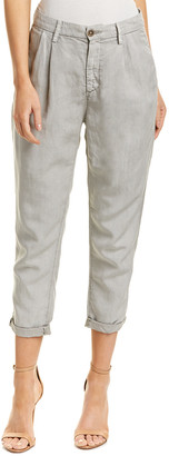 AG Jeans The Evan Pigment Cloudburst Relaxed Pleated Linen-Blend Trouser