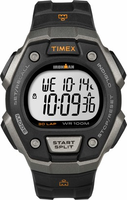 Timex Ironman Men's T5K821 Quartz Classic 30 Lap Watch with LCD Dial Digital Display and Black Resin Strap