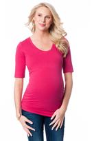 Motherhood Elbow Sleeve Scoop Neck Ruched Maternity Tee