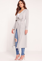 Missguided Draped Duster Jacket Grey