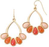 Liz Claiborne Gold-Tone Orange Teardrop Earrings