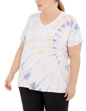 Calvin Klein Plus Size V-Neck Tie-Dyed Logo T-Shirt