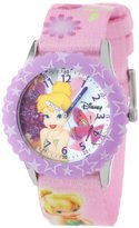 Disney Kids' W000928 Tinker Bell Stainless Steel Time Teacher Printed Bezel Printed Strap Watch