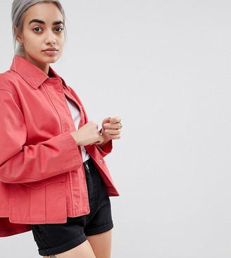 ASOS DESIGN Petite washed cotton jacket