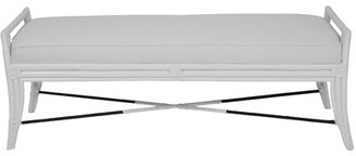 """David Francis Furniture Upholstered Bench Size: 21.5"""" H x 51"""" W x 20.5"""" D, Color: White"""