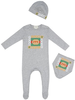 Gucci Kids Baby cotton onesie, bib and hat set