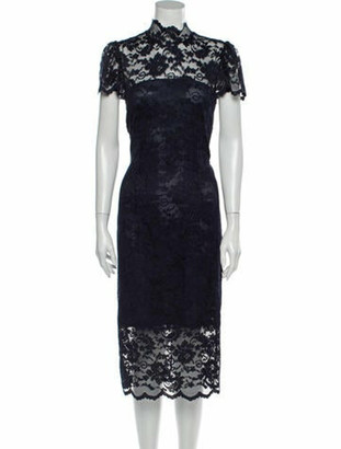 Ganni Lace Pattern Midi Length Dress Blue