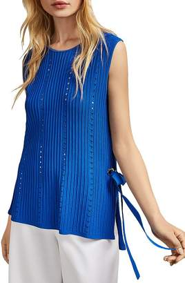 Ted Baker Jehsii Mixed-Knit Side-Tie Top