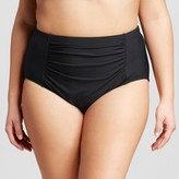 Sea Angel Women's Plus Size Solid Center Ruched High Waist Bikini Bottom Black