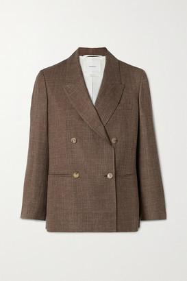 CASASOLA + Net Sustain Organic Wool, Silk And Linen-blend Blazer - Brown
