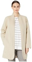 Eileen Fisher Quilted Tencel Linen High Back Neck Long Jacket (Khaki) Women's Clothing