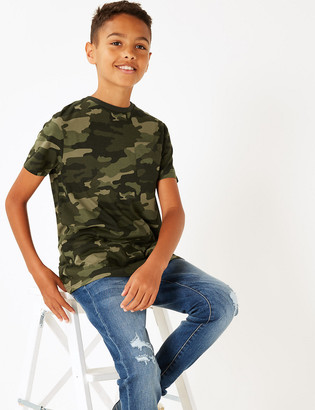 Marks and Spencer Pure Cotton Camo Print T-Shirt (3-16 Yrs)