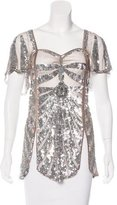 Temperley London Embellished Mesh Top