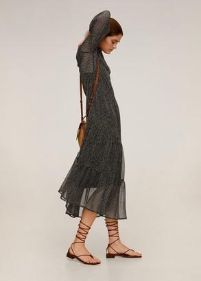MANGO Midi printed dress black - 8 - Women