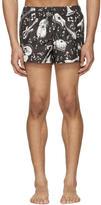 Dolce & Gabbana Black and White Instrument Swim Shorts