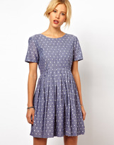 ASOS Skater Dress With Embroidered Spot In Chambray - Blue