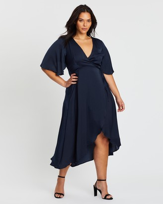 Atmos & Here Atmos&Here Curvy - Women's Blue Midi Dresses - Ursula Wrap Midi Dress - Size 20 at The Iconic