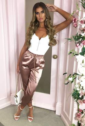 Pink Boutique True Hearts Desire Rose Gold Satin Cuffed Joggers