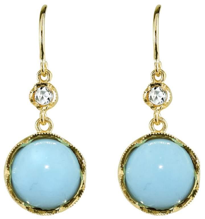 Irene Neuwirth Turquoise and Rose Cut Diamond Earrings