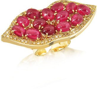 Bernard Delettrez Big Mouth w/Cabochon Rubies Gold Ring