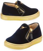Giuseppe Zanotti Girls' London Laceless Velvet Low-Top Sneaker, Toddler/Youth Sizes 9T-2Y