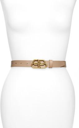 Balenciaga Logo Buckle Slim Leather Belt