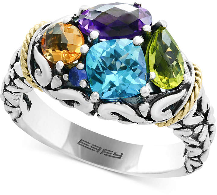 Effy EffyMosaic Multi-Gemstone Ring (5-1/3 ct. t.w.) in Sterling Silver and 18k Gold
