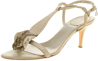 Christian Dior Beige Leather T-Strap Sandals Size 39.5