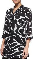 Marina Rinaldi Silk Animal-Print 3/4-Sleeve Tunic, Plus Size