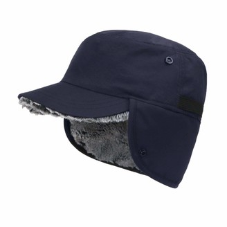 ZffXH Winter Baseball Cap Earflaps Faux Fur hat Brim Waterproof Windproof Hunting ski Navy