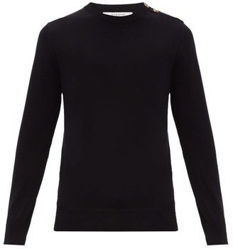 Givenchy Logo Button Cotton Sweater - Mens - Black