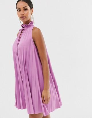 Asos Design DESIGN pleated mini dress with high neck detail-Purple