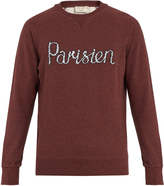 MAISON KITSUNÉ Parisien-embroidered cotton-jersey sweatshirt