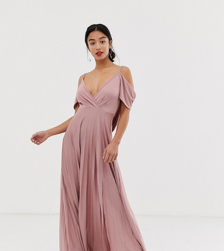 Asos DESIGN Petite Cold Shoulder Cowl Back Pleated Maxi Dress