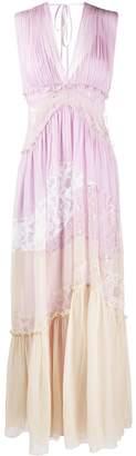 Alberta Ferretti Lace-Insert Pleated Maxi Dress