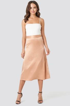 NA-KD Bias Cut Satin Midi Skirt