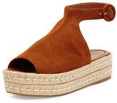 Prada Suede Platform Ankle-Wrap Sandal