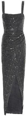 Rachel Gilbert Wrap-effect Embellished Tulle Dress