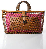Lambertson Truex Multi-Color Leather Netted Knot Detachable Pouch Tote Large