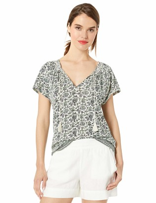 Lucky Brand Women's Border Print Smocked TOP